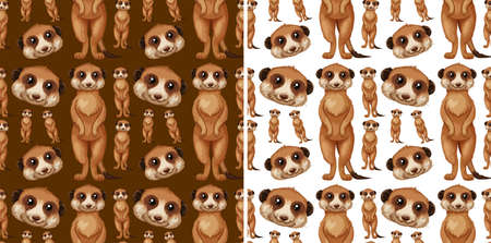 Seamless background design with meerkats illustration