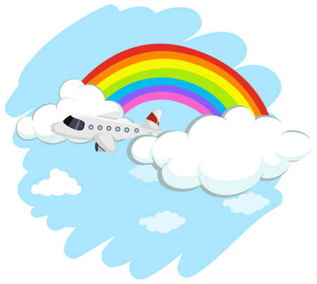 Airplane flying over the rainbow illustration Illustration