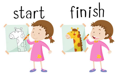 Opposite wordcard for start and finish illustration