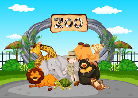 Scene at the zoo with zookeeper and animals illustration
