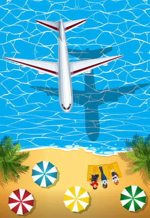drawings image: Airplane flying over the ocean illustration Illustration
