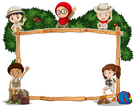 Border template with kids in safari costume illustration