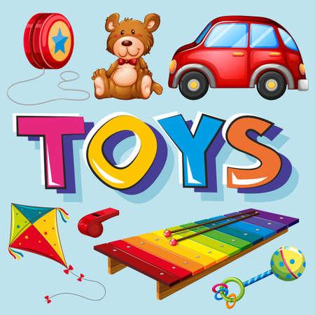 Diversi tipi di giocattoli illustrazione Archivio Fotografico - 81697516