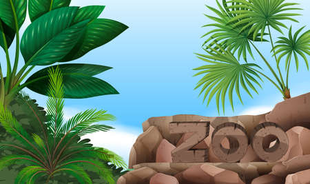 palm: Zoo sign on the mountain illustration
