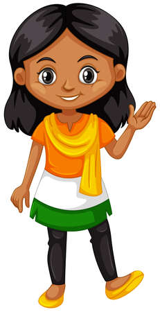 indian teenager: Indian girl wearing shirt with color of the flag illustration Illustration