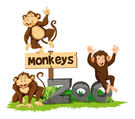 drawings image: Three monkeys in the zoo illustration Illustration