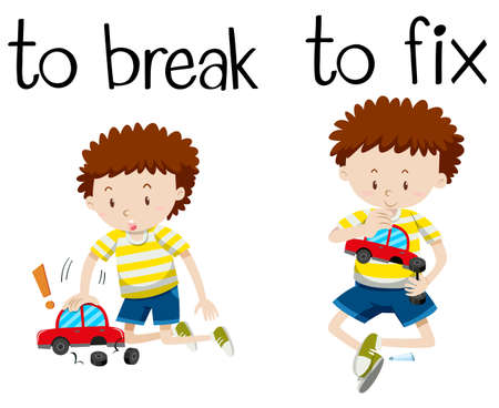 Opposite wordcard for break and fix illustration