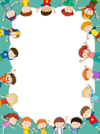 Border template with happy children in background illustration Ilustrace