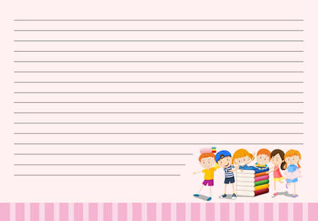 layout: Line paper template with kids and books illustration