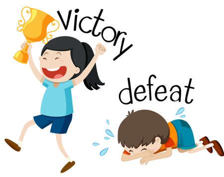 승리와 패배 그림 반대 워드 카드 일러스트