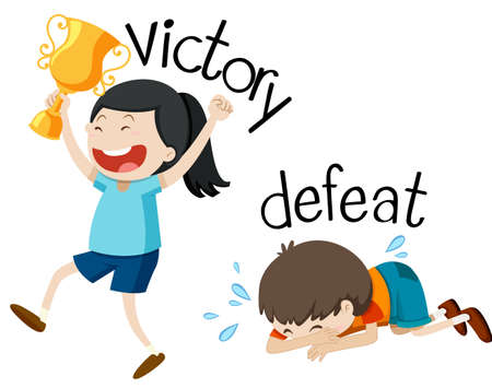 Opposite wordcard for victory and defeat illustration