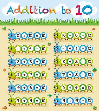 addition: Addition to ten worksheet with caterpillar illustration Illustration