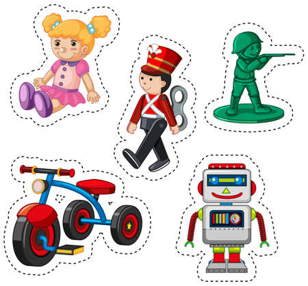 plastic soldier: Sticker design for different toys illustration