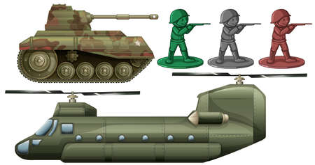 Military vehicles and soldier toys illustration