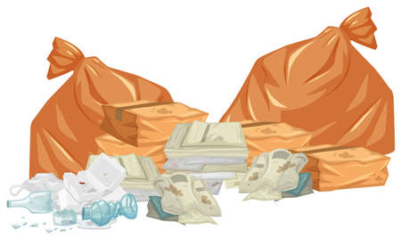 Garbage piles with bags and papers illustration