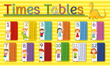 Time tables chart with happy kids on yellow background illustration