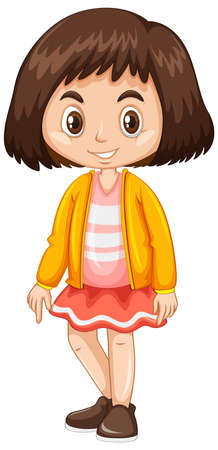 white coat: Little girl in yellow jacket illustration