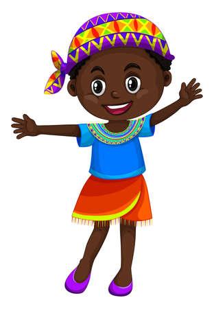 ジンバブエ女の子を振って手のイラスト  イラスト・ベクター素材