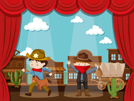 two: Cowboy town on stage with two kids acting illustration Illustration
