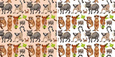 Seamless background with wild animals illustration Stock Vector - 83389277
