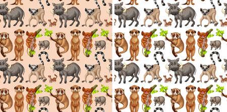 Seamless background with wild animals illustration Illustration