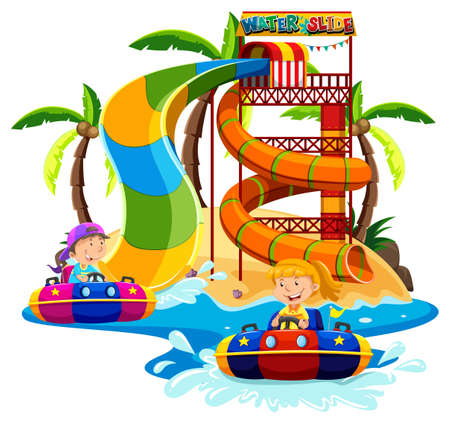 drawings image: Boy and girl playing water slide illustration