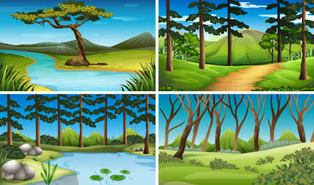 Four scenes of forest and river illustration