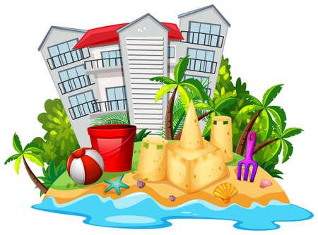 Summer theme with sandcastle on beach illustration