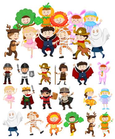 Children in halloween costumes illustration Illustration