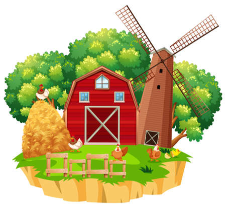 Farm scene with red barn and wooden windmill illustration