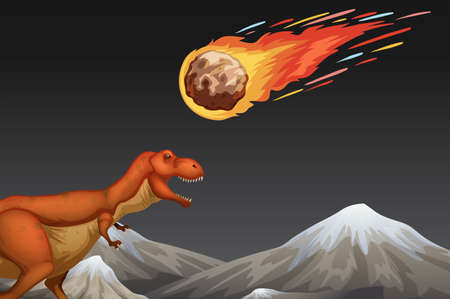 Dinosaur and meteror crashing earth illustration
