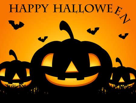 Happy Halloween card with jack-o-lantern illustration