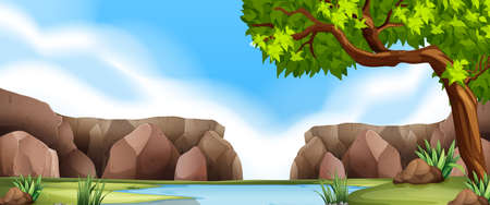 Nature scene with cliff and river illustration Illustration