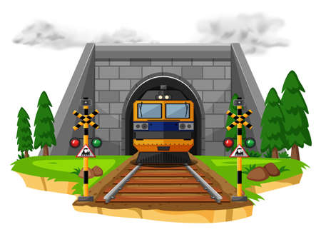 Train ride on the railroad illustration