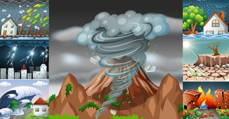 Scenes with different disasters illustration