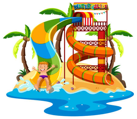 Little boy playing waterslide illustration