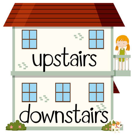 Opposite wordcard for upstairs and downstairs illustration Иллюстрация