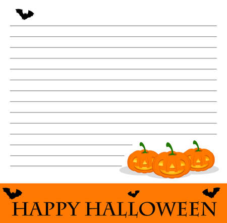 Line paper template with halloween theme illustration Stock Vector - 83389392