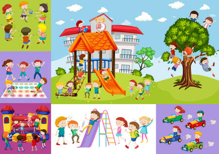 car: Children having fun at school and playground illustration