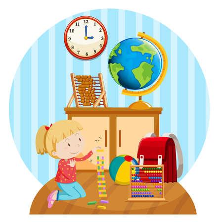 Little girl plays blocks in room illustration
