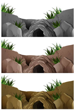 drawings image: Three scenes of cave in the rocky mountain illustration