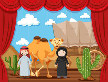 Stage play with two people playing arabs in desert illustration