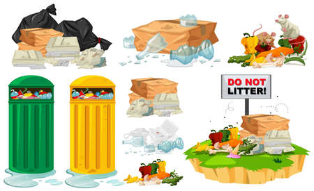 Rubbish on the floor and trashcans illustration Illustration