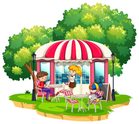 People dining out at the restaurant illustration