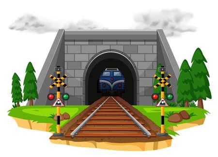 Train riding on railroad illustration