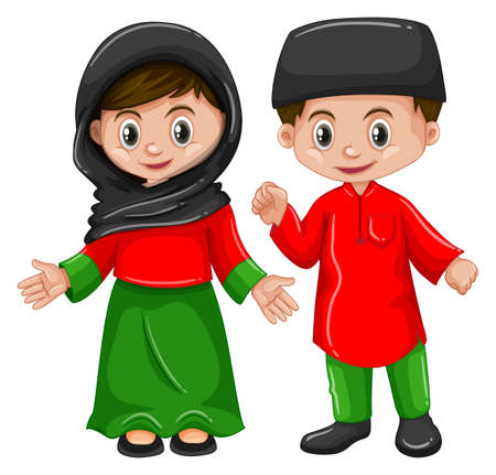 Afghanistan boy and girl in traditional costume illustration