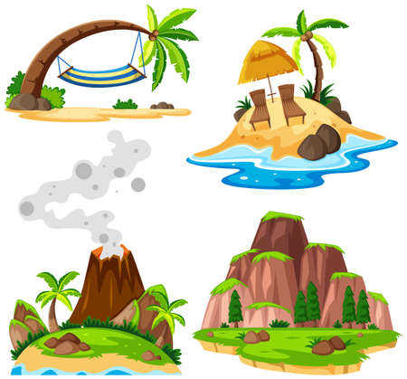 Four scenes of island and beach illustration