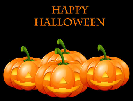 halloween background: Happy Halloween card with jack o lanterns illustration