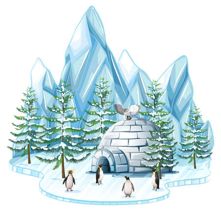 Penguins and owl by the igloo illustration Illustration
