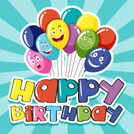 word: Happy Birthday card template with colorful balloons illustration